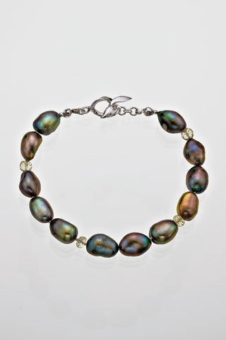 "Freshwater Peacock Pearl Tourmaline Bead Bracelet 7 1/2"" Sterling Silver Leaf Catch - David Smith Jewellery"