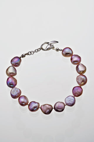 "Freshwater Peacock Pearl Bracelet Sterling Silver Leaf Catch 7 1/2"" - David Smith Jewellery"