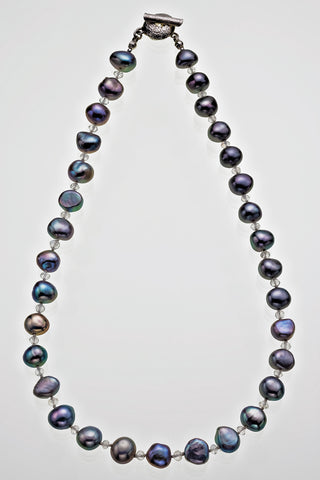 "Freshwater Peacock Pearl Tourmaline Bead Alternating Necklace Sterling Silver Signature Catch 16"" 18"" - David Smith Jewellery"