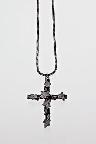 Sterling Silver Ivy Leaf Overgrown Plaited Cross Pendant on Silver Chain Gothic Victorian Oxidised Finish - David Smith Jewellery