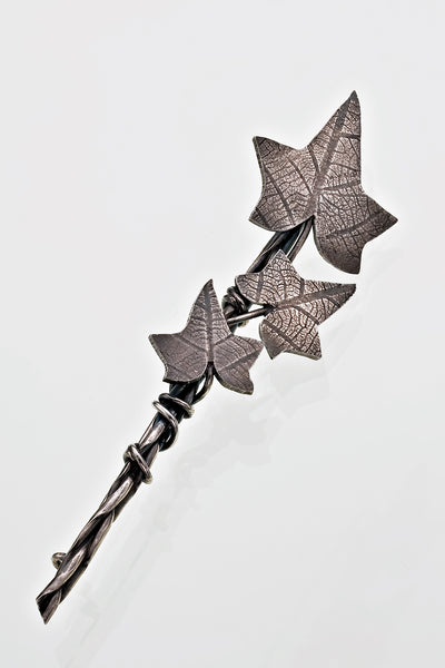 Sterling Silver Ivy Leaf Large Brooch Plaited Gothic Victorian Oxidised Finish - David Smith Jewellery