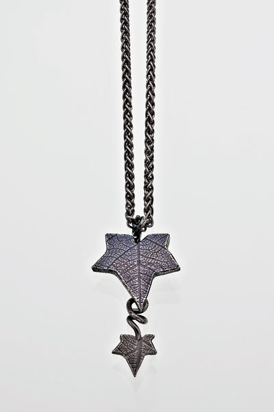 Sterling Silver Ivy Leaf Drop Pendant with Silver Chain Victorian Gothic Oxidised Finish - David Smith Jewellery
