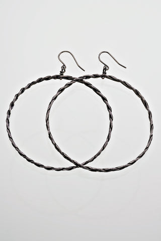 Sterling Silver Large Plaited Full Hoop Earrings Gothic Victorian Oxidised Finish - David Smith Jewellery