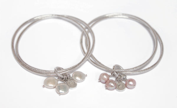 Sterling Silver Double Bangle Heart Nugget Button Pearl Natural Pink - David Smith Jewellery