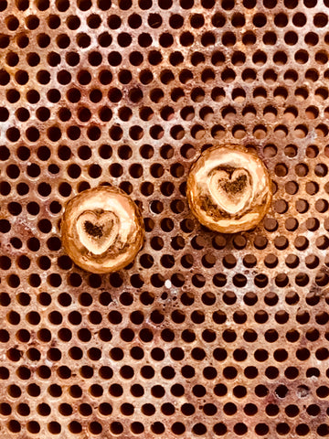 Red gold vermeil sterling silver heart nugget stud earrings posts and scrolls 7mm diameter