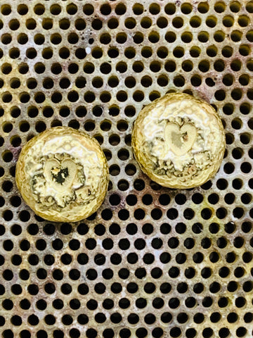 Gold on sterling silver medium heart nugget studs with posts and scrolls, 12mm diameter-David Smith Jewellery