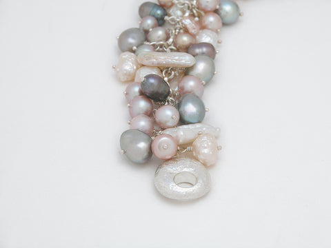 "Freshwater Natural Pink White Pearl Bracelet Signature Sterling Silver Catch 7 1/2"" - David Smith Jewellery"