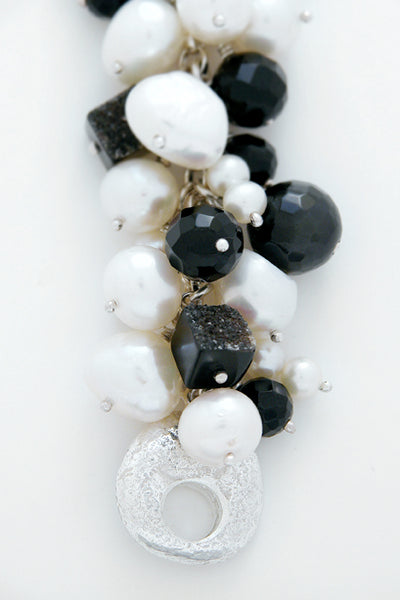 White Freshwater Pearl Black Onyx Bead Signature Sterling Silver Catch - David Smith Jewellery