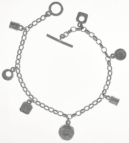 Sterling Silver Charm Bracelet Heart Nugget Textured Finish Belcher Chain T-bar Catch - David Smith Jewellery