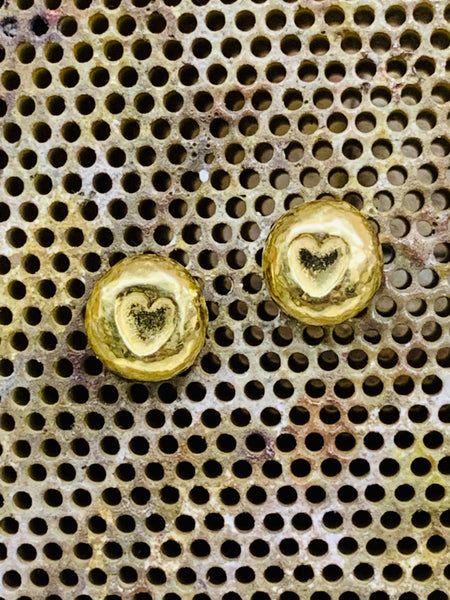 Gold 18ct vermeil on sterling silver heart nugget stud earring post and scroll 7mm diameter-David Smith Jewellery