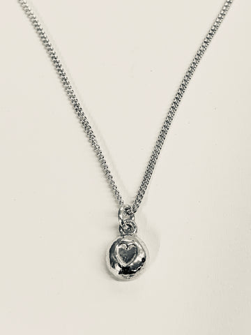 "Heart Nugget Sterling Silver Pendant 7mm Diameter Curb Chain 16"" 18""-David Smith Jewellery"