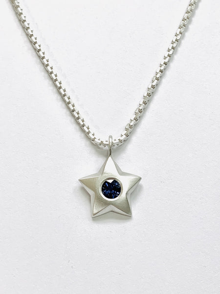 Sterling Silver Star Pendant Set with Lab Grown Sapphire