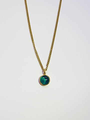"Grey Green Tourmaline 12mm Cabochon Bezel Set 9ct Yellow Gold Pendant 18"" Curb Chain - David Smith Jewellery"