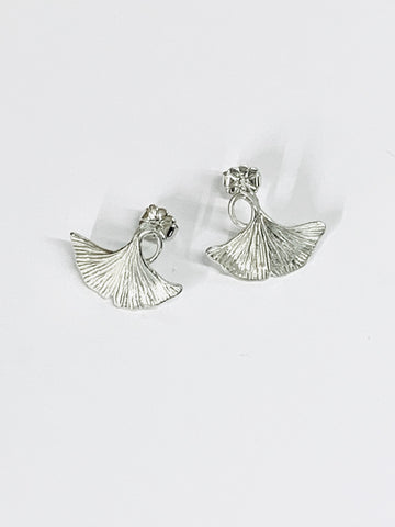 Ginkgo Leaf Small Stud Earrings Handmade Sterling Silver Hand Engraved H15mmxW19.1mm - David Smith Jewellery