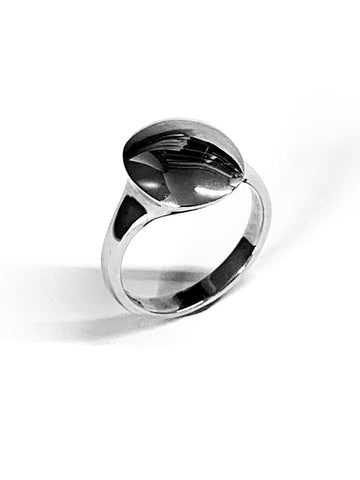 Contemporary Signet Ring Sterling Silver Oval Head 13.6mm x 11.8mm - David Smith Jewellery