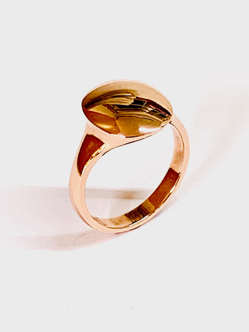 Contemporary Signet Ring Red Gold Sterling Silver Oval Head 13.6mm x 11.8mm - David Smith Jewellery