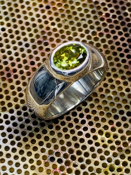 Oval Cut Green Tourmaline 8mm x 6mm 1.5cts Bezel Set Sterling Silver Ring - David Smith Jewellery