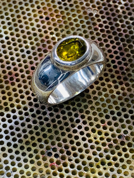 Oval Cut Olive Tourmaline 8mm x 6mm 1.12cts Bezel Set Sterling Silver Ring - David Smith Jewellery