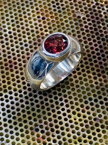 Oval Cut Pink Tourmaline 6mm x 8mm 1.22cts Bezel Set Sterling Silver Ring - David Smith Jewellery