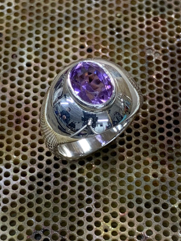 High Domed Ring Sterling Silver Bezel Set Oval Cut Purple Amethyst 8mm x 6mm - David Smith Jewellery