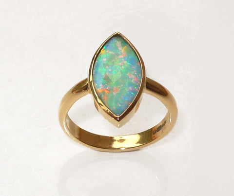 Handmade Opal 18ct. Red Gold Ring 13x6.5mm Collet Set Half Round Band - David Smith Jewellery
