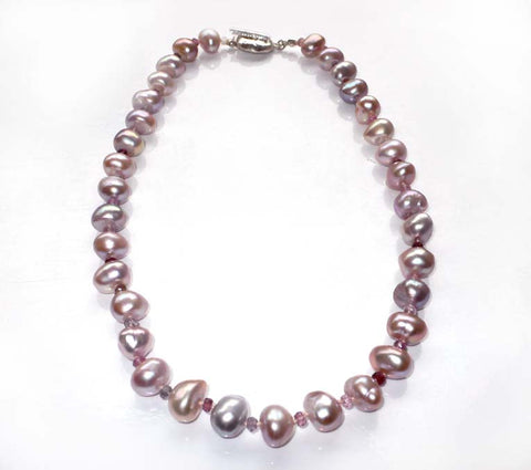 Large Natural Pink Freshwater Pearl and Tourmaline Alternating Necklace
