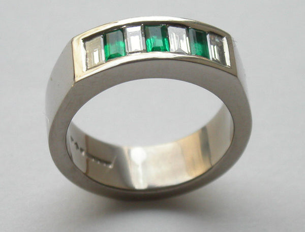 Baguette Cut Diamonds 1.00ct Emeralds 0.60ct Platinum Ring 7mm Channel Set - David Smith Jewellery