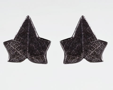 Sterling Silver Ivy Leaf Imprinted Texture Stud Earrings Victorian Gothic Oxidised Finish - David Smith Jewellery