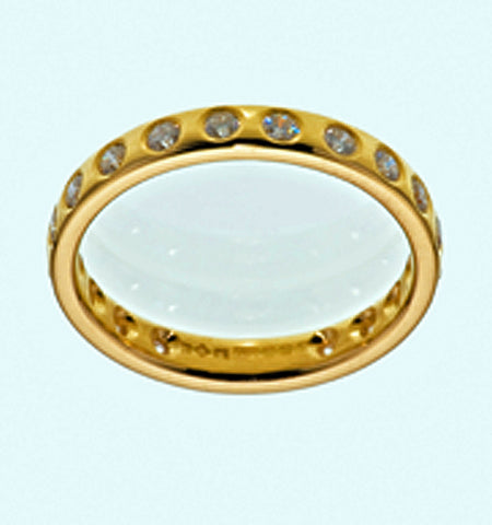 Handmade Full Eternity Brilliant Cut Diamond Ring Flush Set 18ct Yellow Gold G Colour VS1 Clarity - David Smith Jewellery
