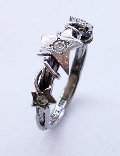 Ivy Leaf 18ct. White Gold Ring 0.05ct 0.025ct Diamond G Colour VS1 Clarity Victorian Gothic - David Smith Jewellery