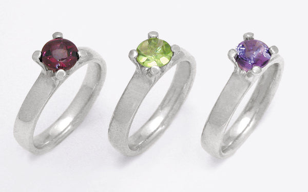 4 Claw Gemset Gemstone Rhodolite Garnet Iolite Peridot Swiss London Sky Blue Topaz Sterling Silver - David Smith Jewellery