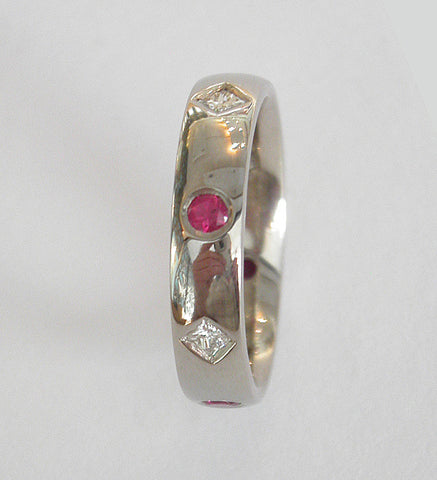 Handmade Princess Cut Diamond G Colour VS1 Clarity Natural Ruby Flush Set Eternity Platinum Ring - David Smith Jewellery