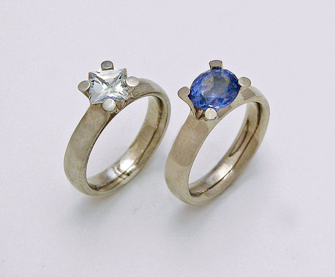 Princess Cut Diamond 1.25ct G Colour VS1 Clarity Oval Cut Blue Sapphire Platinum 4Claw Ring - David Smith Jewellery