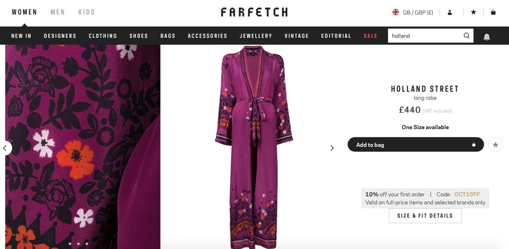 New silk tops and robes on luxury online retailer Farfetch.