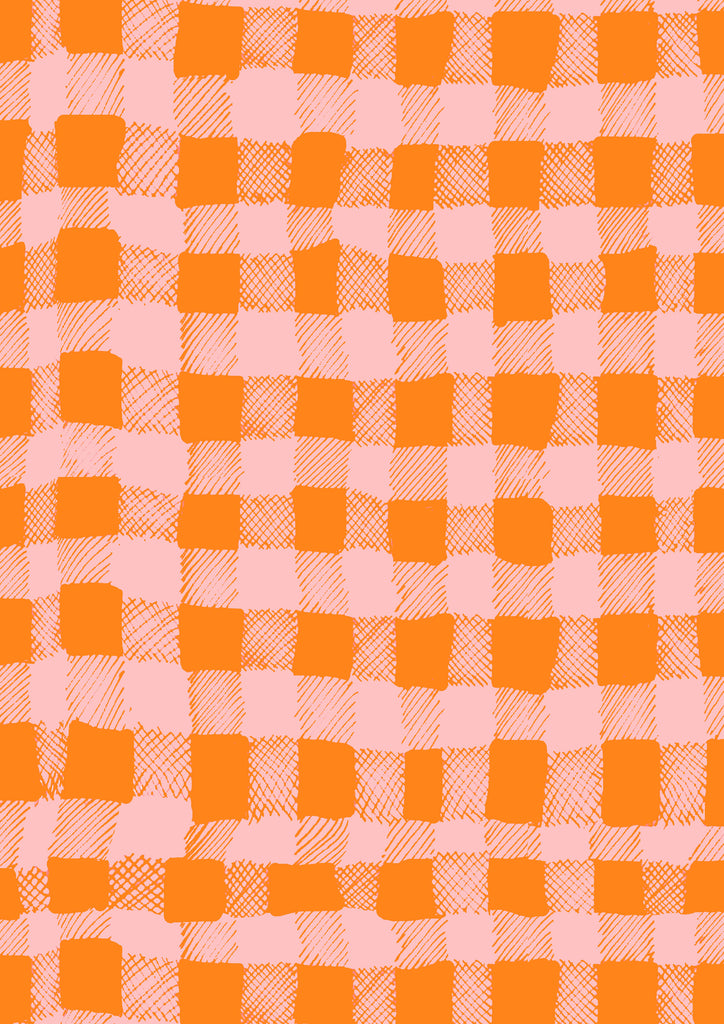 Gingham Orange and Pink