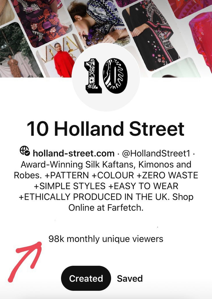 10 Holland Street Reaches 98k Monthly Pinterest Viewers