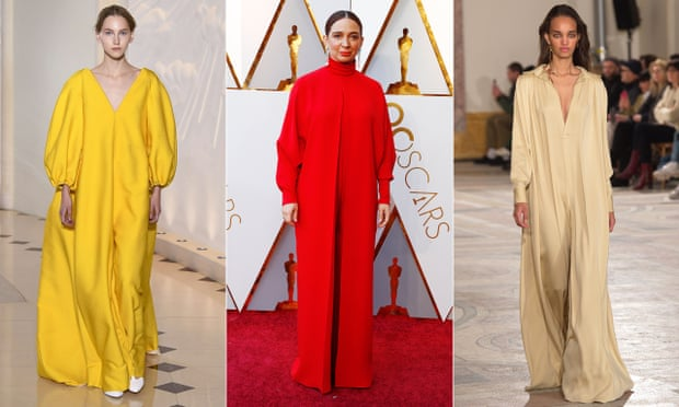 Maya Rudolph in a Valentino kaftan at the Oscars (centre). Kaftans by Emilia Wickstead (left) and Simon Porte Jacquemus (right). Composite: Getty Images