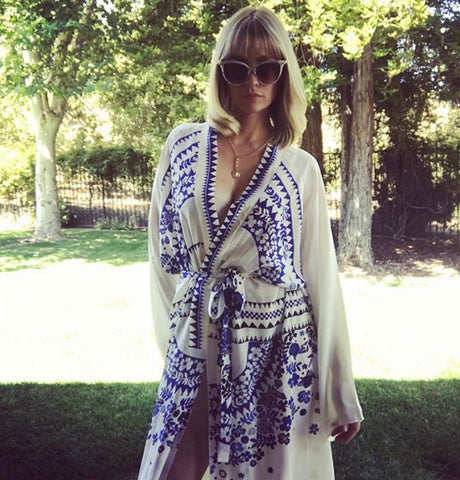 January Jones madmen wearing Holland street robe print florals