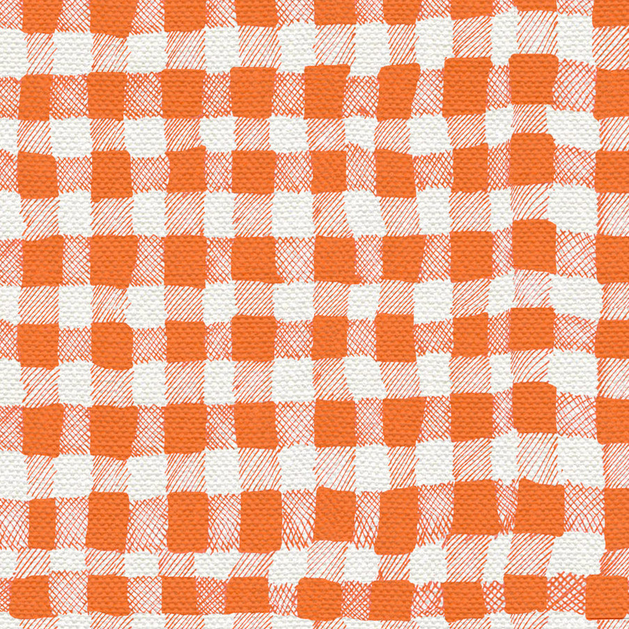 10 Holland Street Linen Gingham Check fabric Satsuma Orange