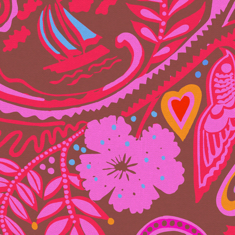 10 Holland Street Park Life Linen Cotton Fabric. Ruby Pink and Red Luxury Interiors