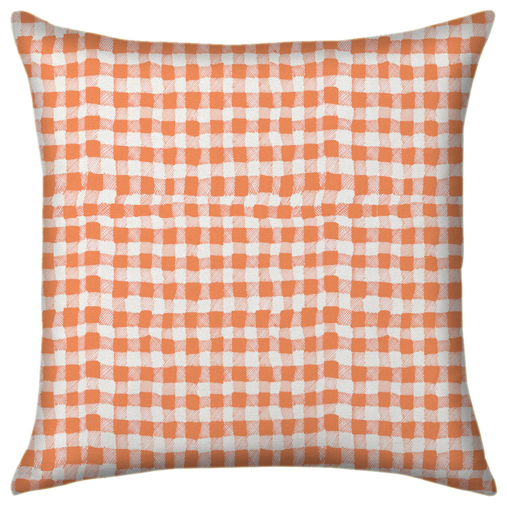10 Holland Street Gingham Cushion Linen Orange Colour 50 x 50cm