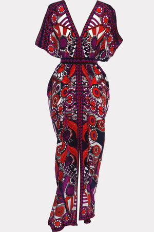 Otto Silk Print Kaftan Dress