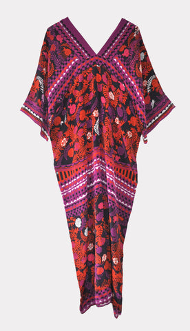 Pomegranate Noir Kaftan Dress - Caftan Dress - 100% Silk crepe de chine