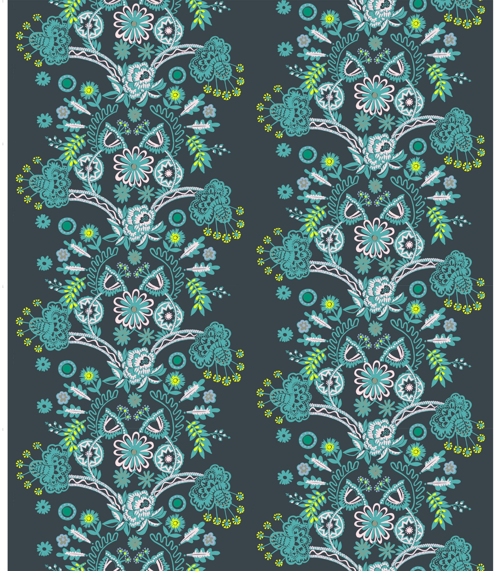 10 Holland Street Cotton Fabric Vase Series Janey Blue Print cotton Blinds Soft Furnishings Full half drop repeat