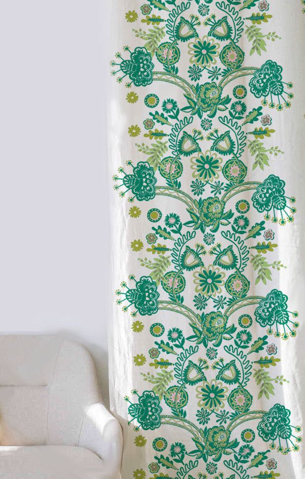 10 Holland Street Linen Curtain Print design in Lawn Green