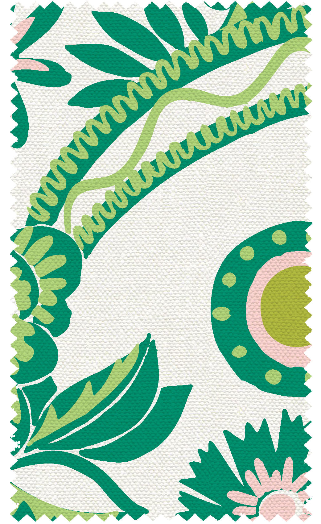 10 Holland Street Lawn Green Textile print for Upholstery and Curtains. Floral Damask Style design Vase Series