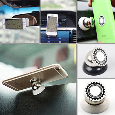 360 degree Rotatable Magnetic Car Holder For Smartphone - Black
