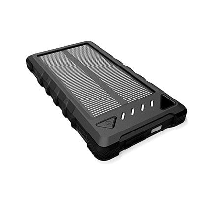 Portable External Solar Charger Power Bank WaterProof DustProof ShockProof - Black