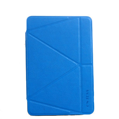 Onjess iPad mini 4 PU Leather+Silicone 360 Degree Rotating Stand Case - Blue