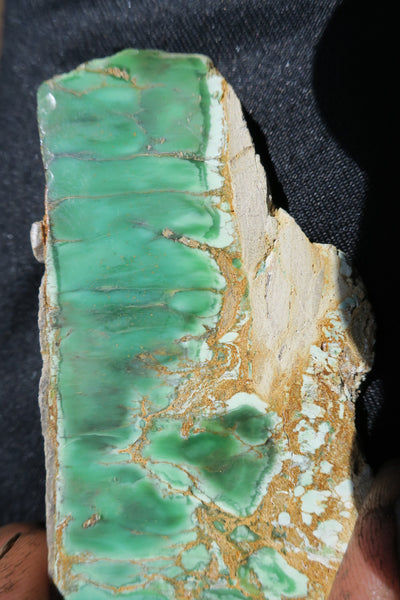 Variscite with gold.  Polished slab.